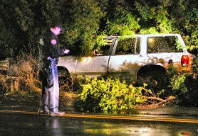 by: David F. Ashton, Officers write up their reports, looking at the SUV that plowed through heavy brush and stuck a guardrail, as the driver unsuccessfully tried to elude police.