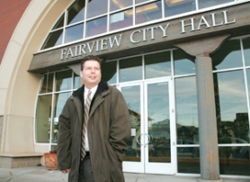by: Shanda Tice, Joe Gall stands in front of Fairview City Hall. He is entering his second year as the city administrator.