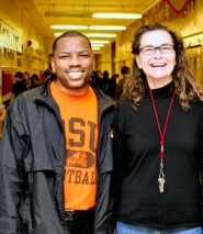 by: David F. Ashton, Because their school was singled out for its continuing achievement, Hosford Middle School Principal Kevin Bacon and Beth Williamson, a Language Arts teacher, team leader, and Title 1 coordinator, have good reason to smile.
