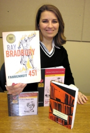 "by: Ellen Spitaleri, Elizabeth Klein, program manager for Clackamas County Arts Alliance, with a copy of ""Farenheit 451."""