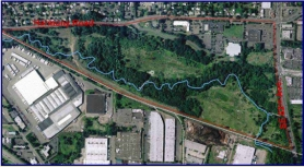 by: courtesy of North Clackamas Park and Recreation District, An aerial view of the Harmony Road study area.