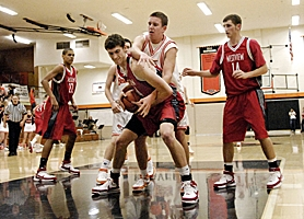 by: MATTHEW GINN, BIG MAN BATTLE — Andy Poling of Westview and Killian Fitzpatrick of Beaverton fight for a rebound in the third quarter of Westview's 66-53 win at Beaverton High.