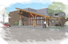 by: Drawing provided by Broadway Rose, An artist rendering of the front door of C.F. Tigard Elementary School after renovation by the Broadway Rose Theater Company that will produce musicals in the auditorium.