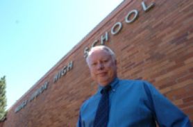 by: Vern Uyetake, Steve Sherrell, principal of Waluga Junior High School, is stepping down in June.