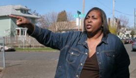 by: JIM CLARK, Tonya Dickens stands in Northeast Portland within a few blocks of some recent instances of suspected gang violence. Much of the winter activity has clustered between Northeast Martin Luther King Jr. Boulevard and Interstate 5.