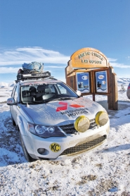 by: ©2008 JEFF ZURSCHMEIDE, Along with partners Gary Bockman and Matt Tabor, Jeff Zurschmeide's Car 21 made it through the 10-day, 5,000-mile journey to the Northwest Territories, and subsequent frozen-lake race.
