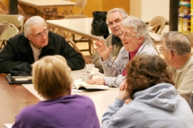 "by: Shanda Tice, Following their observance of The Way of the Cross and a simple supper Wednesday night, March 5, St. Aidan Episcopal Church members discuss ideas and themes presented in the book ""Following Francis: The Franciscan Way for Everyone,"" which they are reading in their book group. Clockwise from top left are George DeWitz, Bob Pierek, Marilyn Pierek, Byron McKinlay, Tammie Sartwell and Shirley Bush."