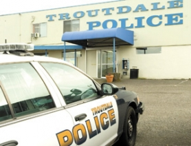 by: John Klicker, The Troutdale Police Department is housed in a former bank building in downtown. A public poll showed support from residents for a bond to pay for a new building to house the growing number of police officers.