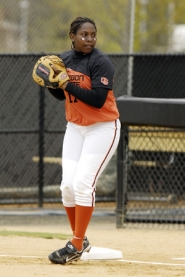 by: COURTESY OF OSU, DeAnn Young came to the Beavers with a background steeped in baseball — her brothers Dmitri and Delmon are in the major leagues. She stepped in as a starter immediately, and as a junior plays first base with a young team she calls a work in progress.