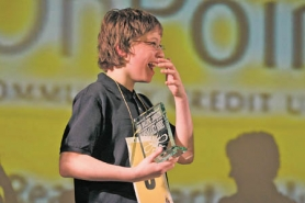 "by: KATIE HARTLEY, After a lengthy back-and-forth bout between the final two spellers that included such stumpers as ""larmoyant"" and ""ophiophagous,"" Trevor Fonvergne emerged victorious in Saturday's Regional Spelling Bee."