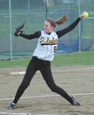 by: John Brewington, Sophomore Danielle Harcourt started the season on the pitcher's plate for Rainier. Heather Heimuller relieved her in the second inning.