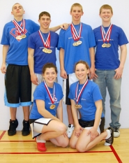 by: submitted photo, Earning first place gold medals for La Salle at the recent National High School Racquetball Championships were: (kneeling, from left) Bailey Sheldon and Stevanie Medearis; and (standing) Jeremy McGlothin, Billy Wainwright, Taylor Knoth and Colby Neal.