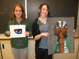 by: Barbara Sherman, OFF TO NATIONALS — The works of Twality Middle School eighth-graders Kristina Kilgour (left) and Arianna Husband, which won Gold Key awards at the local level, have been copied and forwarded to the national Scholastic Art Awards competition.