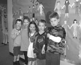 by: Barbara Sherman, CAPTIVATING KINDERGARTNERS — Durham Elementary kindergartners standing in front of the figures they created to look like themselves are (from left) Orion Mullen Jones, Carmen Luna, Claire Minor, Kaden Eaton and Joshua Bowen.