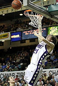 by: MILES VANCE, NOT QUITE — Sunset senior Phil Campbell missed this second-quarter dunk attempt, but the Apollos made enough to take out Central Catholic 46-43 in the state quarterfinals last Thursday night.
