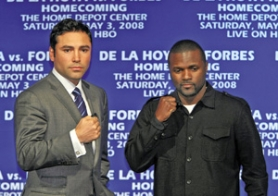by: TIMOTHY CLARY, Former Portlander Steve Forbes (right) awaits the most lucrative fight of his career May 3 against Oscar De La Hoya.
