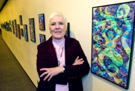 by: John Klicker, Julie Irmer is exhibiting 35 of her painted collage pieces at Mt. Hood Community College's Fireplace Gallery through March 31.