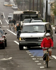 by:  L.E. BASKOW, Cycling downtown can look intimidating to a beginner, but the Bicycle Transportation Alliance's Michelle Poyourow says that with cars moving slowly anyway and drivers who are used to navigating busy streets, bikes and all, it's actually rather safe.