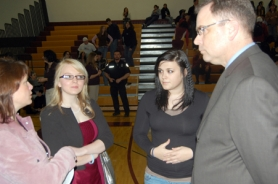 by: Matthew Graham, Alysha White, left, and Brittany Johnson helped bring Rachel's Challenge to Milwaukie High School.