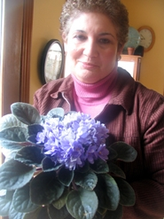 by: Mikel Kelly, African violets like plenty of indirect sunlight, says Mara Woloshin, holding an especially gargantuan example of the plant which stays inside the house, against a good-sized window.