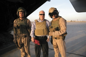 by: Courtesy photo, Marine Sgt. Geoffrey Kohlmeyer (far right) poses with Sen. John McCain and an unidentified soldier in Al Asad, Iraq.