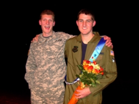"by: KRISTEN FORBES, Finalist Zook Gango, left, and Mr. Laker 2008 Ross Clemson, pose while dressed in their ""10 Years From Now"" outfits. Both men hope to serve in the military – Gango with the Army and Clemson with the Air Force."