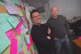 by: VERN UYETAKE,  Dan Merchant, left, writer and director, and Jeff Martin, producer, of Lord Save us from Your Followers, have spent the last three years taking the hundreds of ideas from their post-it-note wall and turning them into the powerful documentary they envisioned.