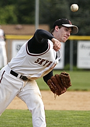 by: MILES VANCE, BRING THE HEAT — Southridge senior Mitch Edwards is part of a talented Skyhawk pitching staff led by Austin Hope that plan on battling for the Metro League championship this season.
