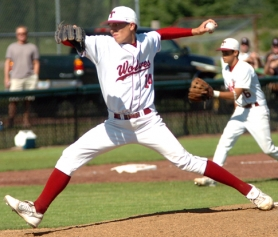 by: DAN BROOD, LETHAL LEFTY — Senior Mitchell Lambson is back to lead the Tualatin pitching staff.