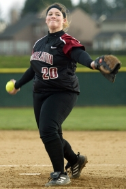 by: JAIME VALDEZ, TO THE PLATE — Tualatin senior Suzanna Espinoza gets ready to fire in a pitch the Wolves' game last week.
