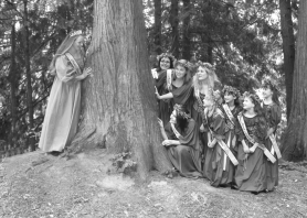 by: Contributed photo, READY OR NOT, HERE I COME — The 2007 Maid Marian Court hides behind a tree in Old Town Sherwood during last year's Robin Hood Festival. The 2008 festival organizers are still searching for girls in grades one through four as well as young women in high school to comprise this year's Maid Marian Court. Applications are due by April 1.