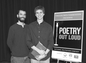by: Contributed photo, POETRY OUT LOUD — Jon Lakey, right, 17, a senior at Sherwood High School, stands next to his advisor, Jared Jones, at the 2008 Oregon Poetry Out Loud competition, held March 15 at the Salem Public Library. Jones was one of 13 school-level winners out of the 2,000 Oregon students that competed in this year's event.