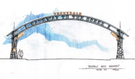 by: Contributed graphic, Troutdale is $25,000 closer to building a Centennial Arch as a decorative gateway to downtown and the Columbia River Gorge.