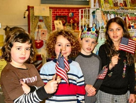 by: , Editor: Each year, the Portland Oaks Bottom Lions Club members go into the Sellwood-Westmoreland, Brooklyn, and Woodstock elementary schools to distribute American Flags to first grade classes. The flags were successfully distributed again early this year. Here's a photo taken at Llewellyn School, featuring first graders Zoey Nolan, Colter, Decker, Sebastian Hawley, and Natalie Marcum – all here waving their American flags. -- Fran Shaw, Oaks Bottom Lions