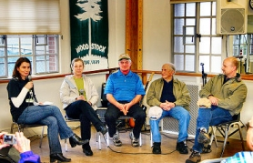 by: David F. Ashton, From left, Woodstock businesspeople Ann Steigerwald, Gretchen and Jerry Eichentopf, Don Garvin, and Gene Dieringer shared their memories of Woodstock gone by.