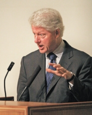 by: L.E. BASKOW, Former President Bill Clinton stumped for his wife, New York Sen. Hillary Clinton, during two events in Portland Monday morning.