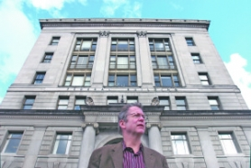 by: JIM CLARK, Thomas Manley, PNCA president, stands in front of the former post office building the school is getting for free from the federal government.
