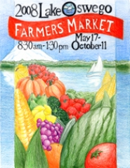 by: City of Lake Oswego, Yixin Zhang's art of produce from the Farmers' Market with Oswego Lake and Mount Hood in the background was one of the winners of the 2008 Lake Oswego Farmers' Market Poster Contest.
