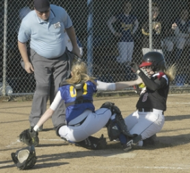 by: David Ball, Barlow catcher Michele Owen tags out David Douglas runner Cassie Keller in a play at the plate in the fifth inning Wednesday. The Bruins won the game 2-1.