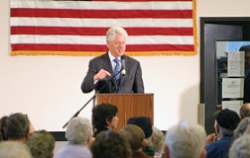 by: David F. Ashton, Former President Bill Clinton makes a point during his only East Portland campaign stop.