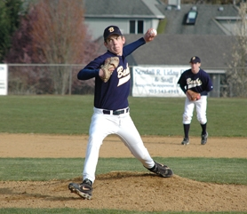 by: John Brewington, Banks sophomore Michael Nowak throws a pitch during last Thursday's game.