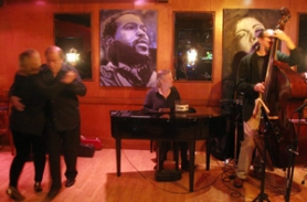 by: KATIE HARTLEY, As they do every week, Elizabeth Gerla and Carl Conrad dance to the talent gathered for Ron Steen's long-running jam, where local jazz luminaries come to show their stuff and pick up new ideas.