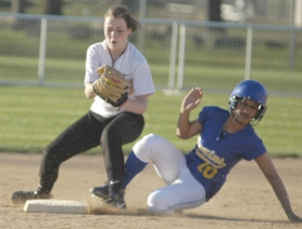 by: David Ball, Central Catholic's Katie Mardesich tags out Barlow's Jayme Simonis at second base during the Bruins' 5-1 win Friday night at Delta Park.