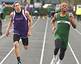 by: MILES VANCE, FAST FORWARD — Sunset's Garrett Sim (left) and Jesuit's Keanon Lowe race home in the 100 meters.