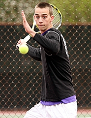 by: MILES VANCE, HIT MAN — In action during Tuesday's Metro League match at Beaverton High School was Sunset senior Chris Seibel in the No. 1 singles match.