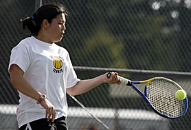 by: JONATHAN HOUSE, HAWK HITTER — Southridge senior Boonyapa Purt returns a shot against Westview last week.
