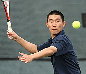 by: MILES VANCE, READY TO GO — Westview junior Minje Shin prepares for a forehand during his 6-3, 6-1 victory over Southridge junior Kyahn Daraee during the Skyhawks' 5-3 Metro League win at Westview High School last Thursday afternoon.
