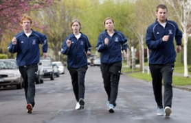 by: JIM CLARK, Track athletes (from left) Jeremy Bahr-Worley, Kristen Hamman, Amanda Davis and Shawn Magee took up racewalking to help Concordia score more points at the NAIA track and field meet.