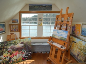 by: Vern Uyetake, Nancy Tongue, an impressionistic oil painter, has painted the exterior of her home and views out many of the windows.