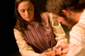 "by: Contributed photo, Elaini Garfield, as the biblical heroine Esther, shares a touching moment with Bryce Barclay, portraying Esther's adoptive father and cousin Mordecai in ""Chosen Destiny: Esther's Journey."""